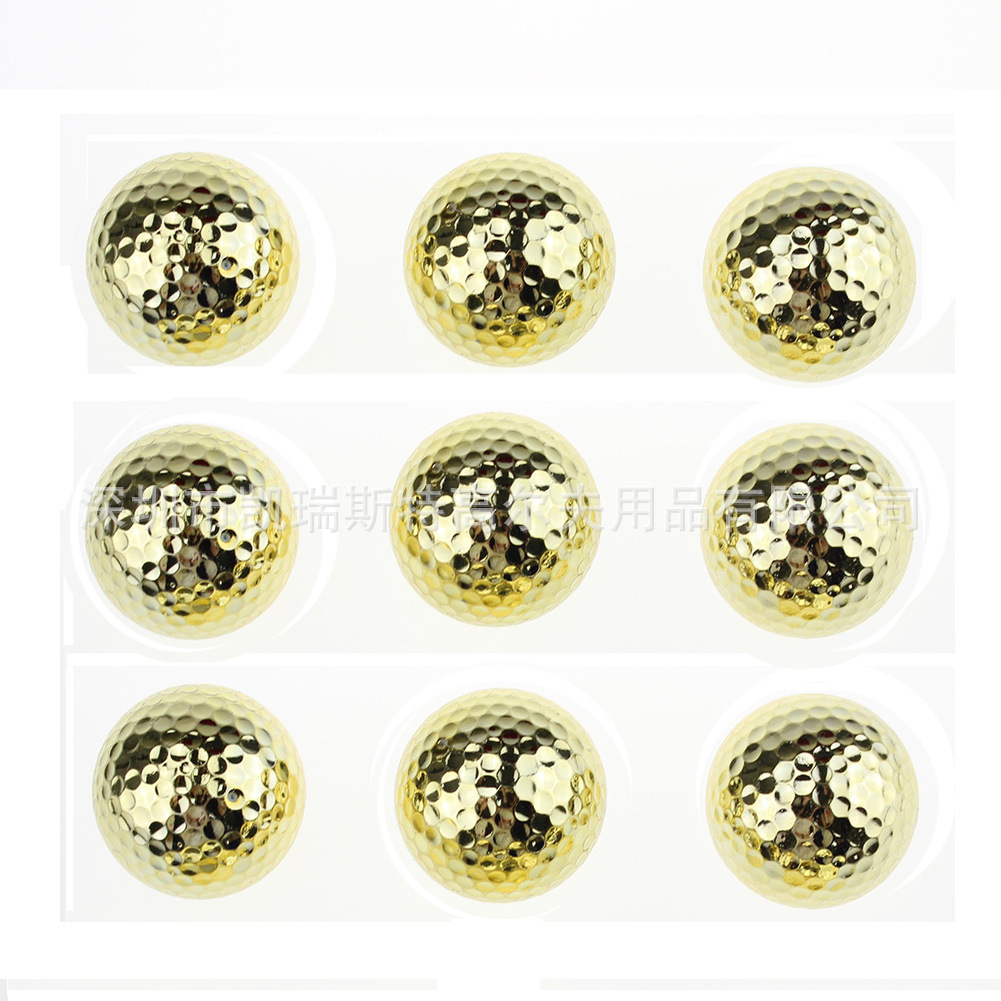 Double Layer Gold Golf Practice Ball Training Two Pieces As Gift