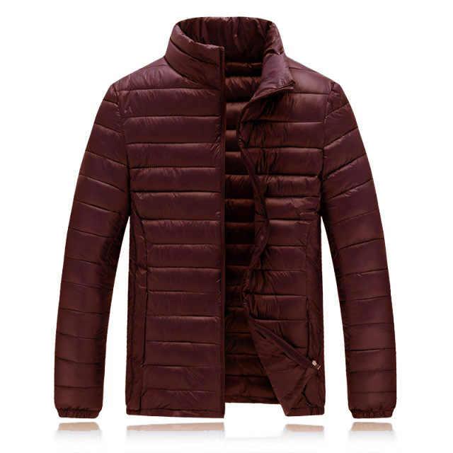新しい冬のジャケットの男性ファッションスタンド襟男性アイダーダウン綿ジャケットメンズ固体厚手のジャケットとコートの男冬パーカー