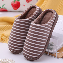 лучшая цена Women's slippers Warm Winter slippers Large Size 43-45 Striped Soft Cotton slippers Short Plush Non slip Home slippers