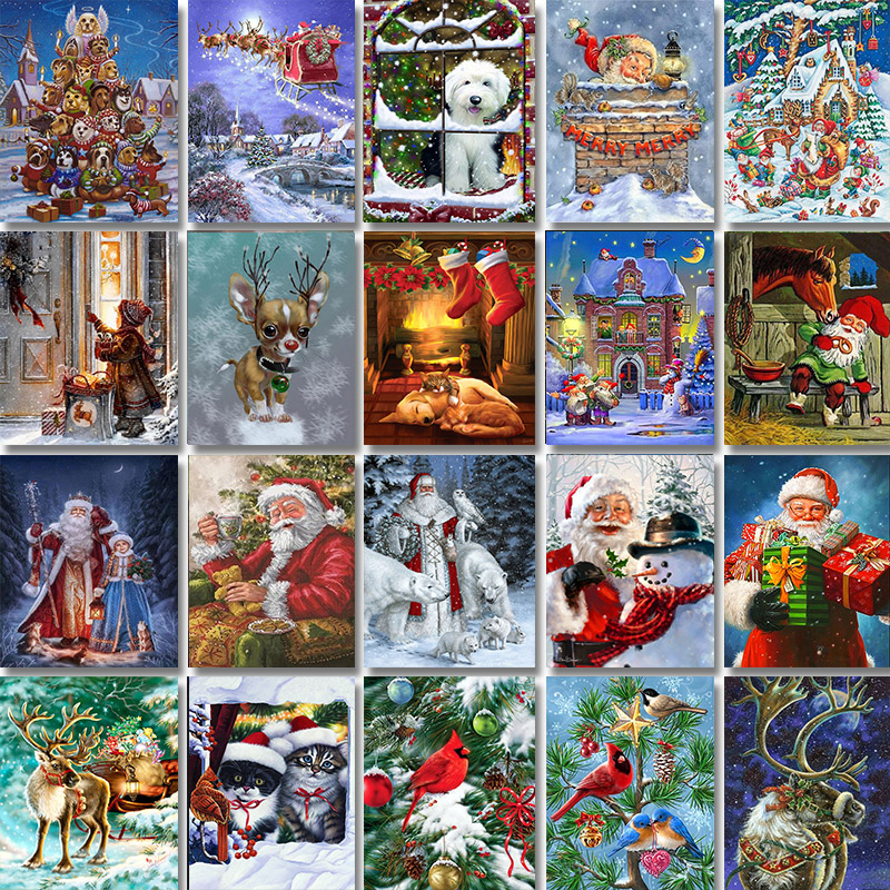 Zooya Stitch Diamond Painting Full Square/Round Christmas Diamond Painting Christmas Icon Diamond Embroidery Full Set Icon JH049