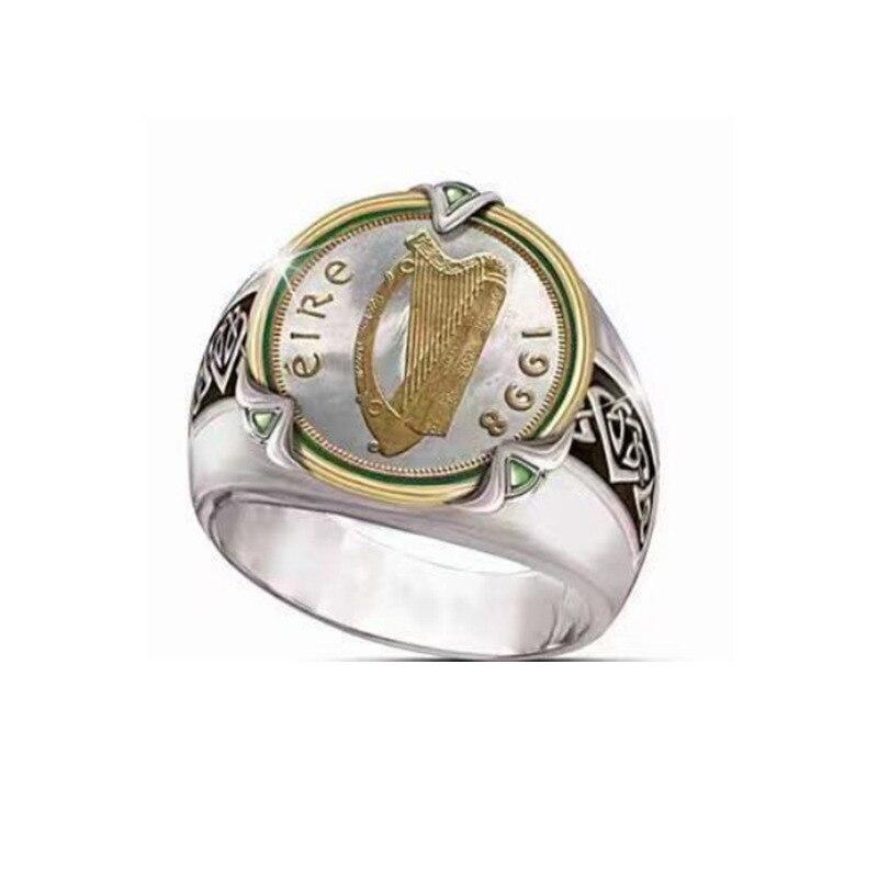Stal nierdzewna vintage 1998 harfa monety pierścionki motocykl Party Steampunk Nostalgia pierścionek jubileuszowy dla mężczyzn biżuteria