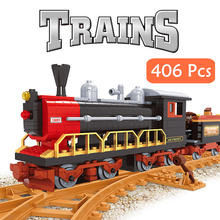 City Train Building Blocks Diesel Rail Train Cargo With Tracks Set Model Technic Carriage Locomotive Rails For Children Kid Toys 98219 98220 compatible city series power driven diesel rail train cargo with track set model building blocks toys for kids