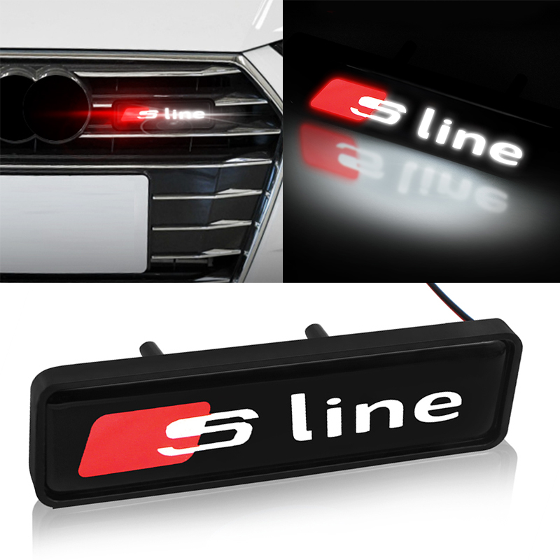 1pcs Chrome Front Hood <font><b>Grille</b></font> Emblem Badge LED Decorative lights for <font><b>Audis</b></font> sline a3 <font><b>a4</b></font> a5 a6 s4 s5 s6 s7 q3 q5 q7 c5 c6 b6 <font><b>b7</b></font> b8 image