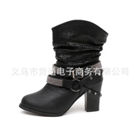 2018 New Trend Solid Color Round Head Low Tube Short Boots Thick With Belt Buckle Rhinestone Decorative Ladies Boots