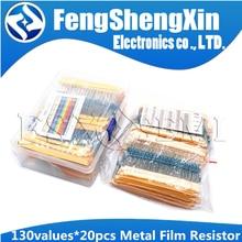 130値X20pcs = 2600個1/4ワット0.25ワット1% 金属被膜抵抗盛り合わせパックキット1R〜3メートル抵抗詰め合わせキット固定コンデンサ
