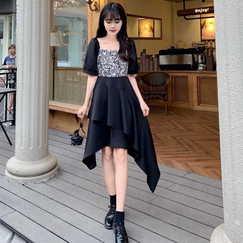 Sommer 2021 Streetwear Schwarz Kleider Frauen Elegante Grosse Grossen Kurzarm Unregelmassigen Nahten Design Harajuku Vintage Kleid Dresses Aliexpress
