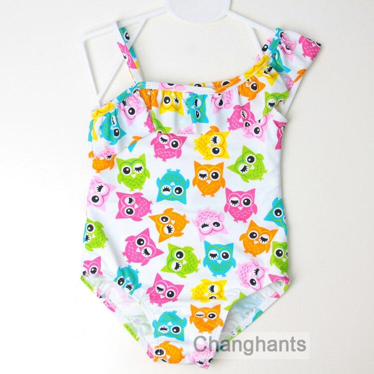 Children Swimwear Baby Girls One Piece Swimsuit with Birds Pattern Kids Summer Beach Wear Kids Bathing Suit
