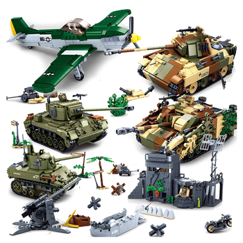 Sluban normandia desembarques ww2 veículo militar modelo blocos de construção tijolos alemanha reino unido dos eua segunda guerra mundial tanque do exército avião barco conjunto