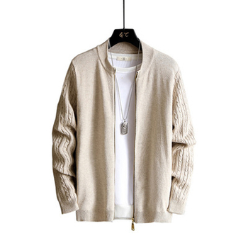 2020 Spring and Autumn Sweater Jacket Men's Zip Long Sleeve Cardigan Solid Color Sweater Korean Youth Trend Slim o ring zip up color block sweater