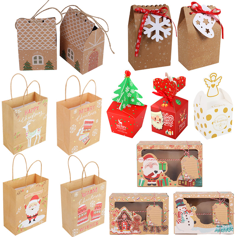 christmas candy cookies bags kraft paper biscuit bag christmas favors decor xmas decorations for home navidad 2020 gift boxes-0