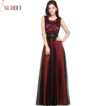 Robe de Soiree Longue A Line Burgundy Green Evening Dresses Appliqued Cheap Prom Gown Party