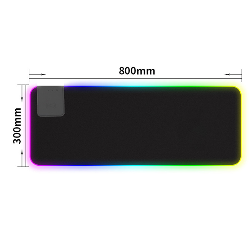 10W Wireless Charger Extended Mouse Pad , Soft LED Gaming Keyboard Mat Wireless Charging Large Mousepad Non Slip Rubber Base