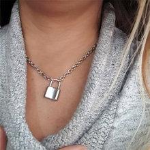 Ожерелье в стиле панк с замком для женщин и мужчин металлическая