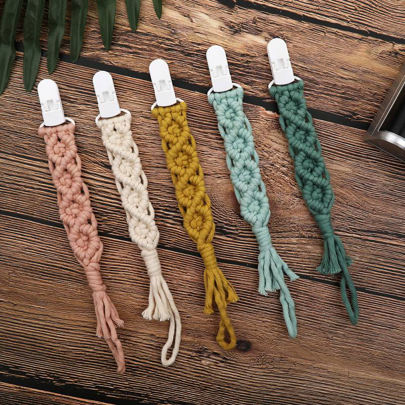 Pacifier Clips Chain Dummy Clip Pacifier Holder Woven Bead Clip Nipple Holder Soother Chain For Infant Baby Feeding