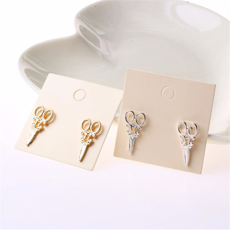 Scissor Stud-Earrings Fancy Jewelry Small New-Arrival Gold Silver-Plated Women And