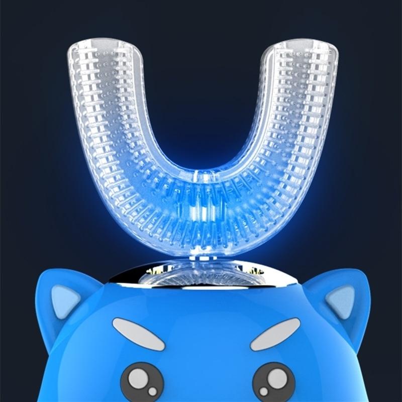 Ultrasonic Electric Toothbrush Food Grade Silicone Brush Head for Children 360 Degree Cartoon Cute Pet U-shaped Teeth Care