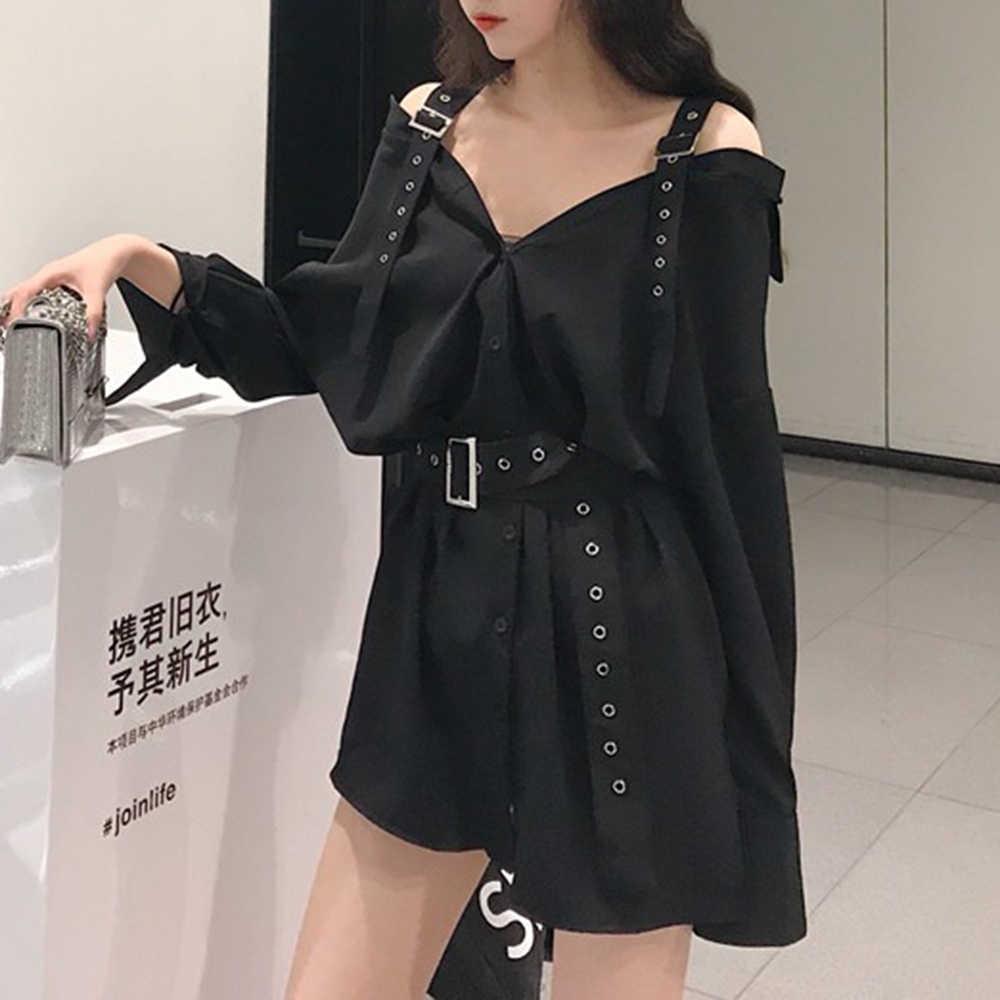 2018 nowa jesienna moda Gothic Korean Style czarna sukienka damska prosty guzik do paska Casual zwykły dziewczyny Plus rozmiar sukienki damskie