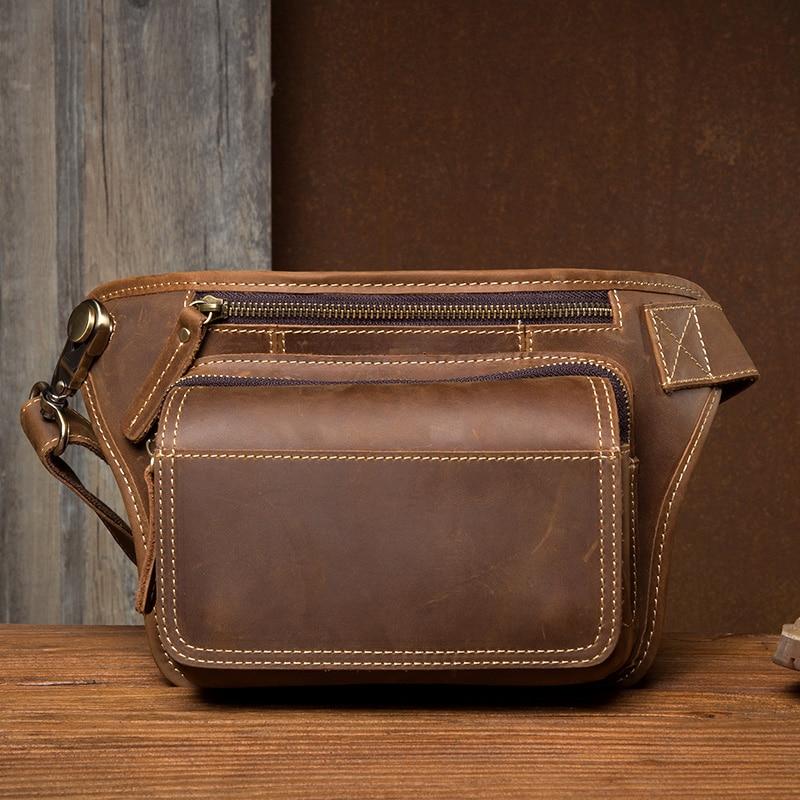 2019 мужская сумка пояс поясная сумка для телефона кошелек на молнии поясная сумка из натуральной кожи Мужские поясные сумки дорожные нагрудные сумки banane Sac - 2