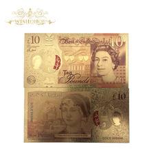 Billetes de oro de color inglés, 10 libras, papel falso chapado en oro de 24k, para colección, 1 Uds.