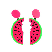 Hip hop punk Long Earring fashion Style summer candy big Acrylic watermelon Shape fruit Female Drop Earrings For Women jewelry
