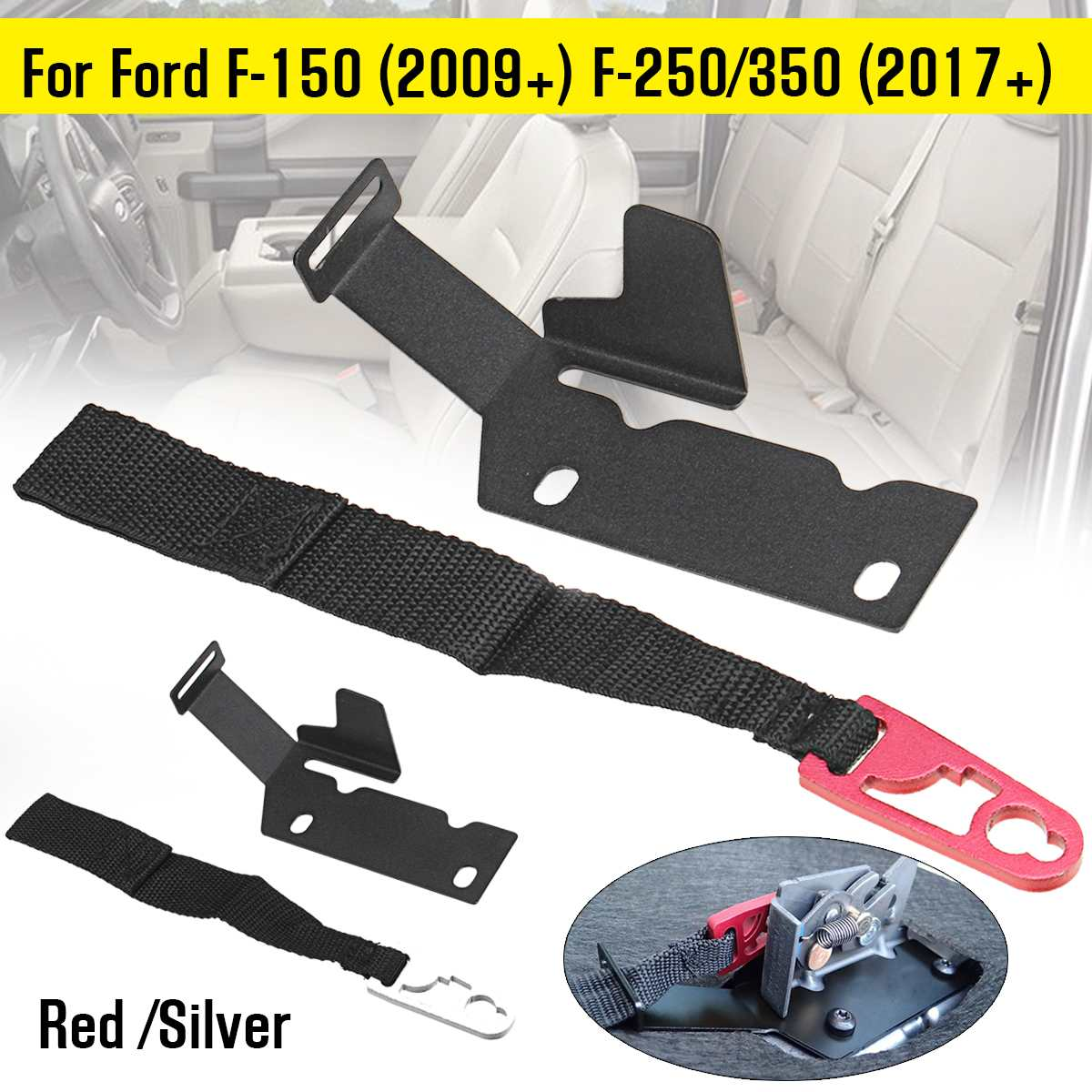 1Pair Rear Seat Release Strap Latch Kit Safety Belt For Ford F-150 (2009+) F-250/350 (2017+)