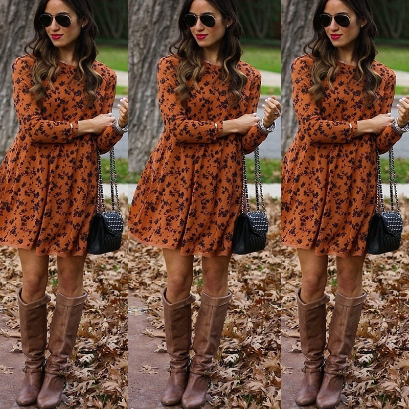 2019 New Midi Floral Long Sleeve Dress Female Autumn And Winter O-Neck Retro Print Knee Length Polyester Casual Dress  Plus Size