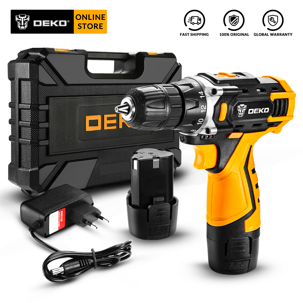 DEKO New Banger 12V Cordless Drill Lithium-Ion Battery Mini Wireless Power Driver With LED Light Power Tool Electric Screwdriver
