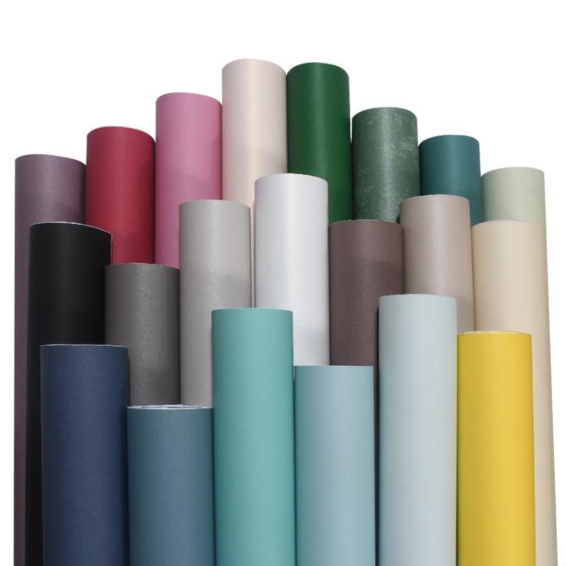 Non-woven Wallpaper Self-adhesive Bedroom Mediterranean Wallpaper Waterproof Pure Pigmented Dormitory Furniture Renovation Stick