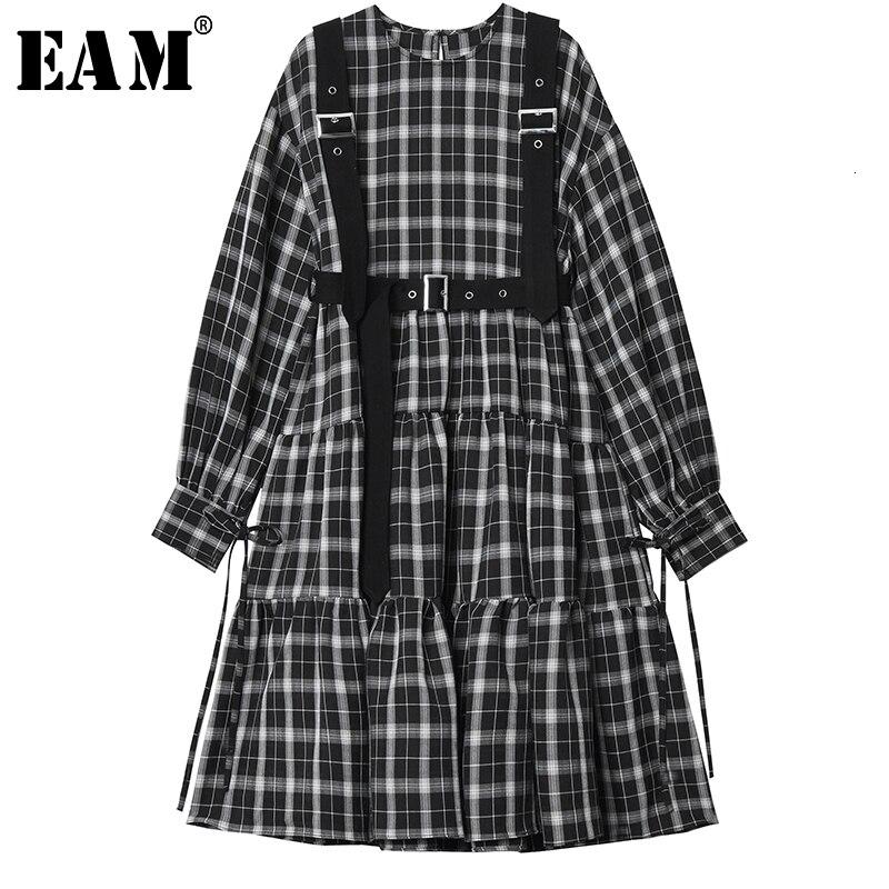 [EAM] Women Black Plaid Split Joint Temperament Dress New Round Neck Long Sleeve Loose Fit Fashion Tide Spring Autumn 2020 1H953