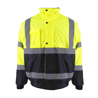 ZUJA Safety Jacket Protective Bomber Jacket with Quilted Lining, ANSI Class 3 Waterproof Construction Warm Work Wear for Men