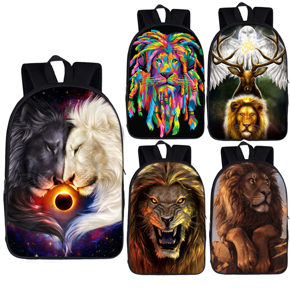 Funny Cute Wolf Love Casual Style Lightweight Canvas Backpack School Bag Handbag Work Bag Shoulder Handbag Travel Bag