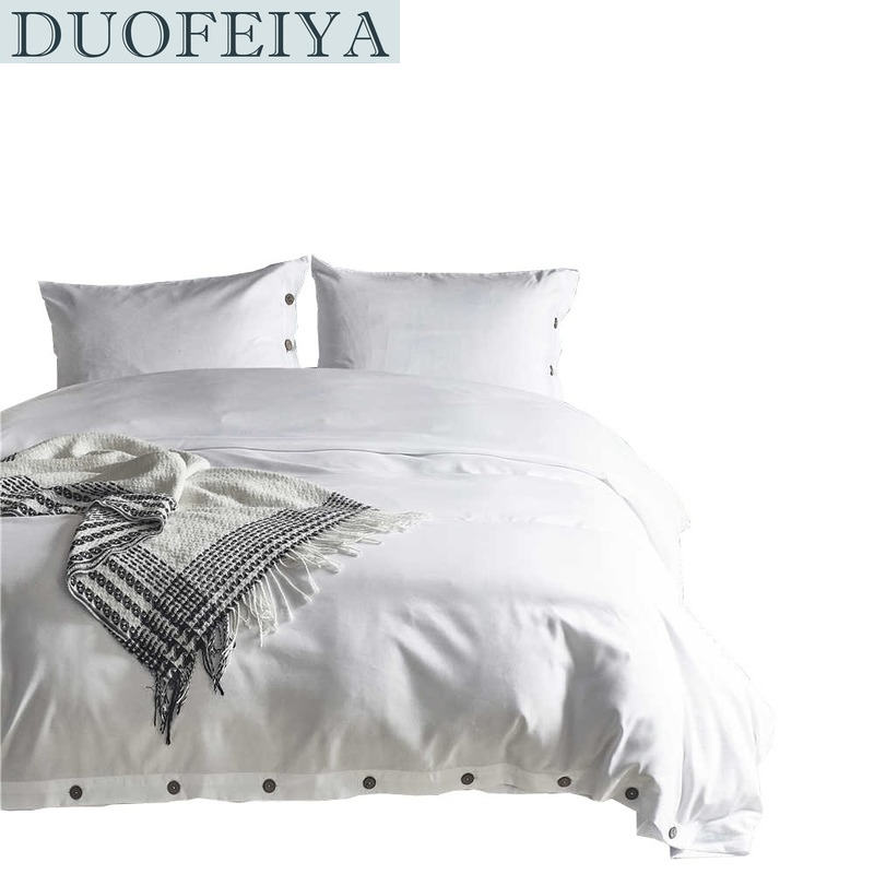 DUOFEIYA Duvet Cover Set Twin Queen King Size with Buttons for All Season, Washable Soft Comfy Bedding Cover Sets