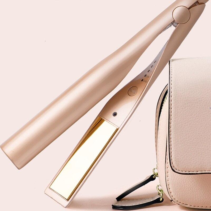 2 In 1 Gold Hair Straightener Hair Curler Twist Hair Curling & Straightening Iron Wet & Dry Hair Styler For Women 40#922