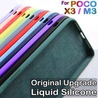 Funda de silicona líquida Original para carcasa teléfono Xiaomi Poco X3 Pro GT Nfc F3 GT F3 M3, estuche fundas de moda oficial de lujo