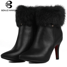 BONJOMARISA Plus Size 33-47 Mature Faux Fur Boots Ladies Pointed Toe Ankle Boots Women 2019 Winter High Heels OL Shoes Woman цена 2017