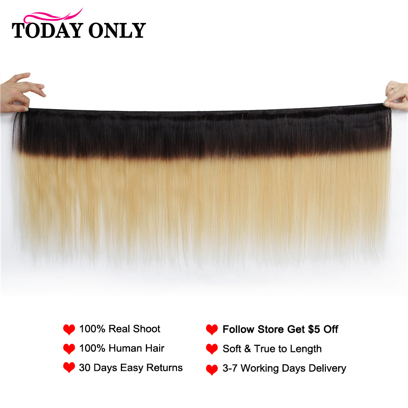 TODAY ONLY Straight Hair Bundles With Closure Ombre Bundles With Closure Blonde Peruvian Hair Bundles With Closure Remy 1b/27