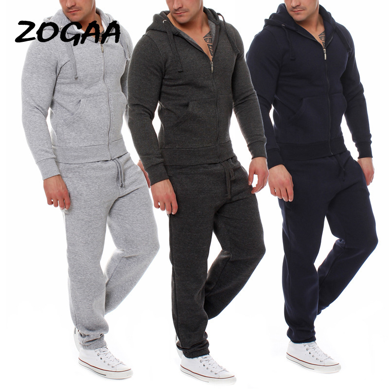 ZOGAA 2020 Two-piece Men's Solid Color Sports Suit Spring And Autumn Trousers Sweatshirt Men Hoodie Sportswear Suit