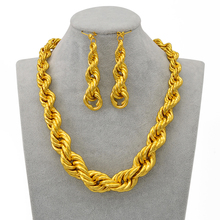 Anniyo African Thick Necklaces Earrings Africa Jewelry Sets Women Girls Gold Color Twisted Chain Nigeria Congo Ghana Suda#226206