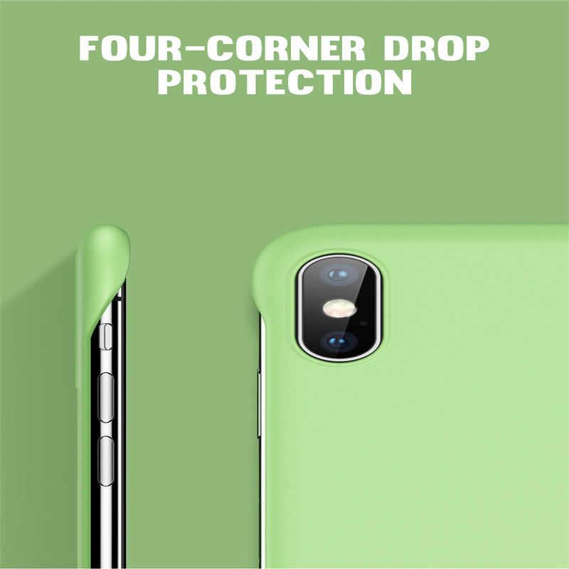 キャンディーカラースリムファッションスクラブハード Pc フレームレス電話ケース iphone 11 プロマックス XR X XS 最大 6 6S 7 8 プラス固体マットカバーセンチメートルボーダレス