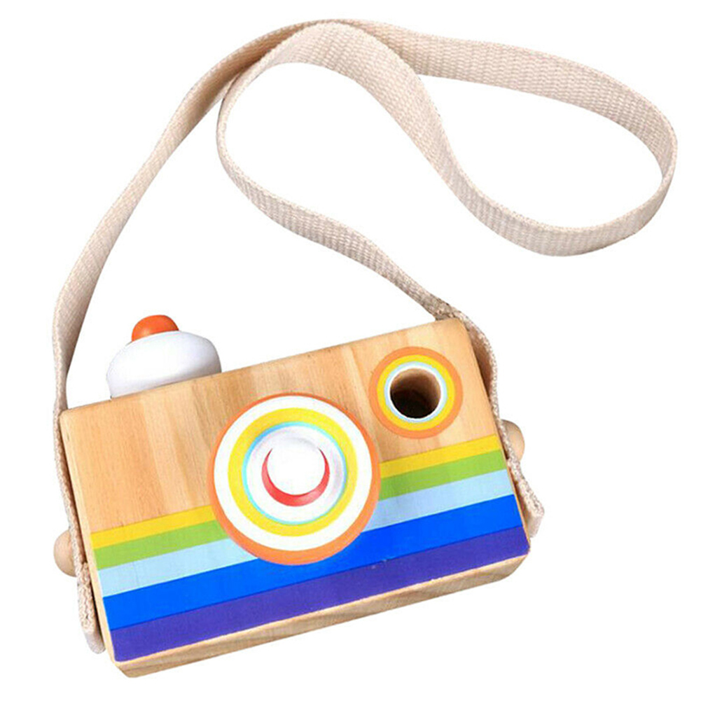 New Wooden Rainbow Camera Toy Toddler Kids Kaleidoscope Lens Pretend Play Toys Home Bedroom