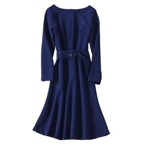Image 2 - Cinto de manga longa slim para mulheres, vestido de banquete azul e slim para primavera 2020