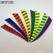 50pcs/lots 5 Shield Cut Striped Fletching Feathers Archery Hunting And Shooting Arrow Feather Real Turkey A-258