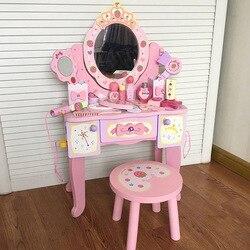 C Children Princess Wooden Makeup Model Dresser Table Have Bag GIRL'S And BOY'S No Barber Shop Toy Set