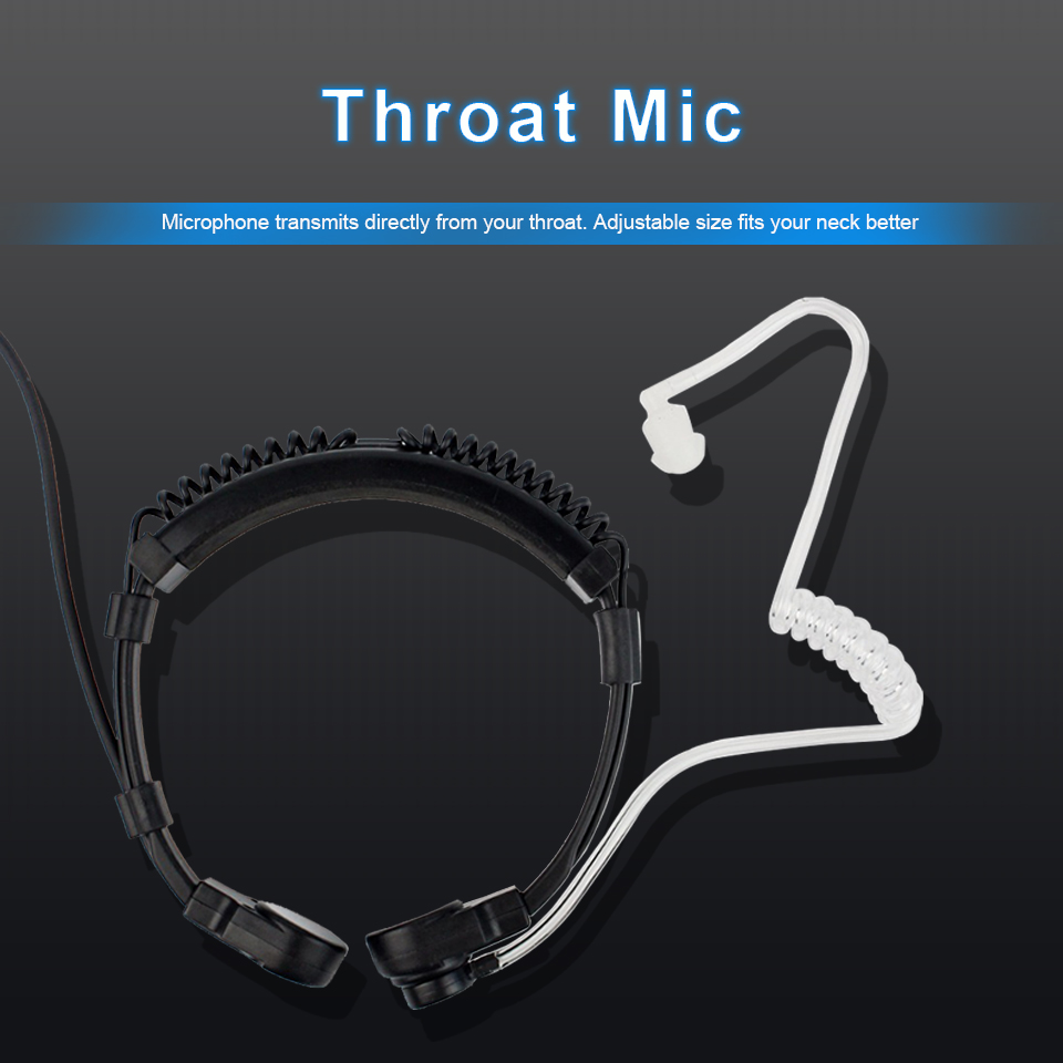 Microphone-Headphones Headset Throat Walkie-Talkie Laryngophone Kenwood TYT Baofeng UV-5R