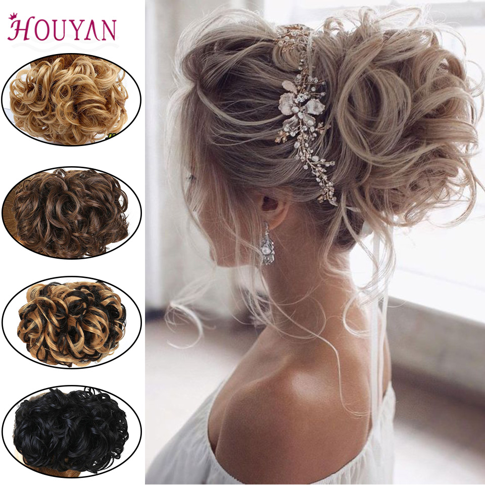 HOUYAN Fashion Women's Bun Short Synthetic Hair Big Bun Chignon Two Plastic Comb Clips In Hair Extension Hairpiece Accessories