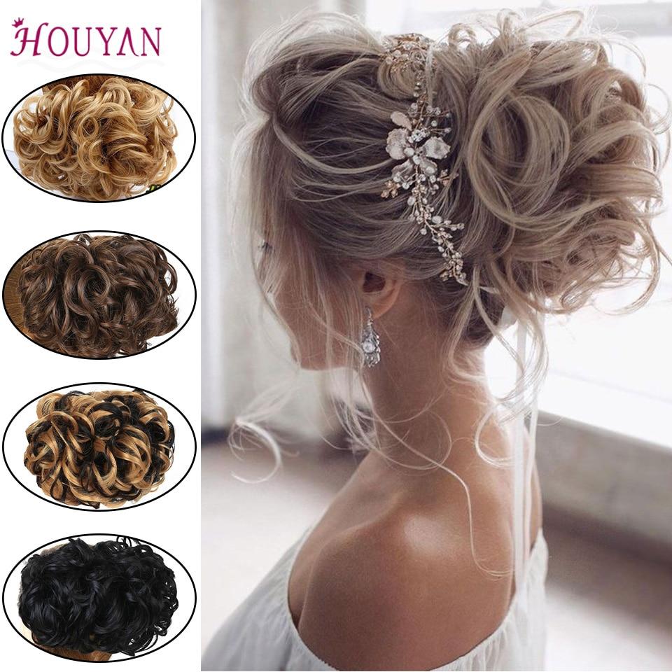 HOUYAN Fashion Women's Bun Short Synthetic Hair Big Bun Chignon Two Plastic Comb Clips In Hair Extension Hairpiece Accessories
