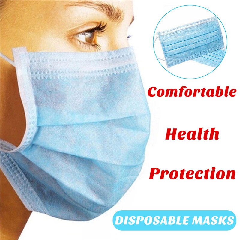 Image 2 - 50PCS Non Woven Disposable Face Mask 3 Layers Medical Dental  Earloop Anti Dust Face Surgical Masks 2/10PCS KN95 Mouth Face Masks  -