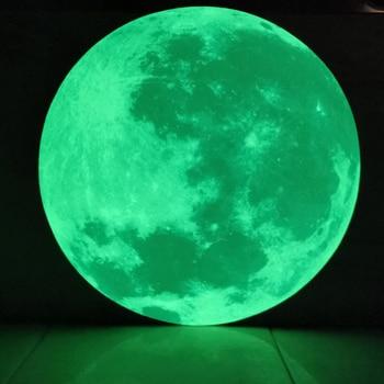 Pegatinas de pared 3D con Luna fluorescente que brilla en la oscuridad para decoración de dormitorio infantil, pegatinas de pared de tierra y luna de energía de 5/12CM