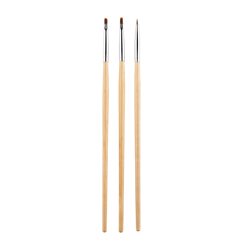 Top Quality 3Pcs Set Nail Art Brush Made With Wooden And Fiber Hair Material For Manicure Tool Set 13