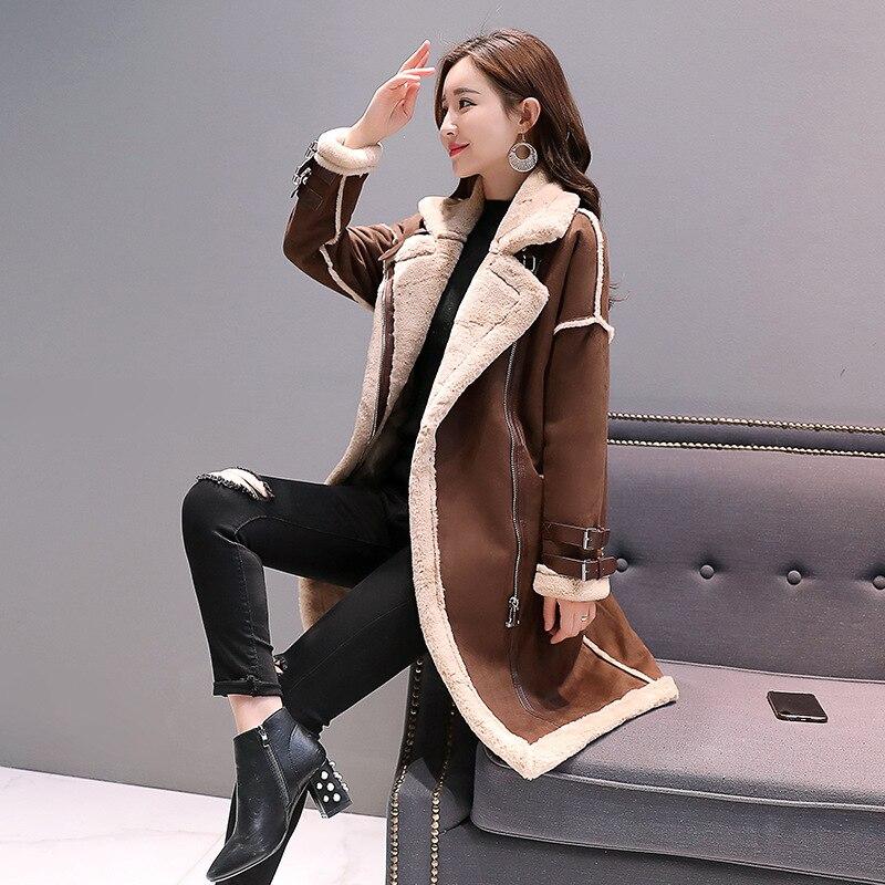 Женское осеннее пальто из овечьей шерсти с отстрочкой в байкерском стиле, Женское зимнее теплое модное пальто средней длины из искусственной кожи
